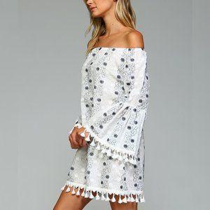 New Cotton Floral Tassel Boho Off Shoulder Dress